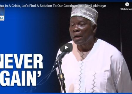 """Never Again"" Prof Banji Akintoye on Channels TV"